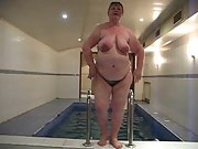 Delightful fatty granny has been mastering a pool in sauna