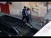 Zoom lens voyeur video chubby woman public sex behind building